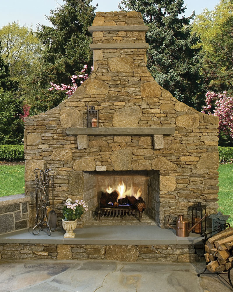 new england thinstone outdoor fireplace